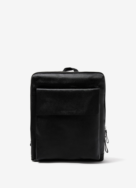 Black Saffiano Leather Backpack