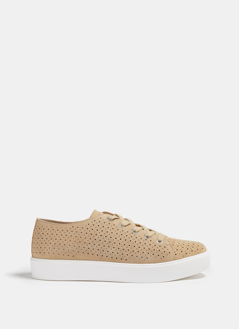 SAND MICROPERFORATED SUEDE SNEAKERS