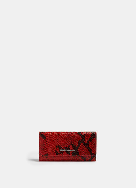 RED SNAKE EMBOSSED LEATHER WALLET