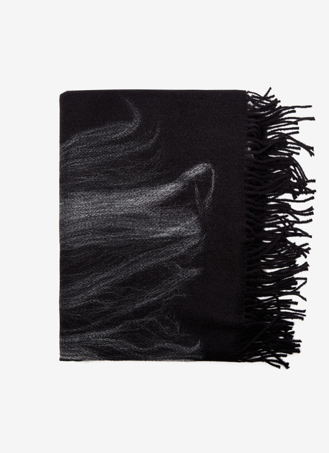 BLACK SCARF WITH CONTRASTING PRINT