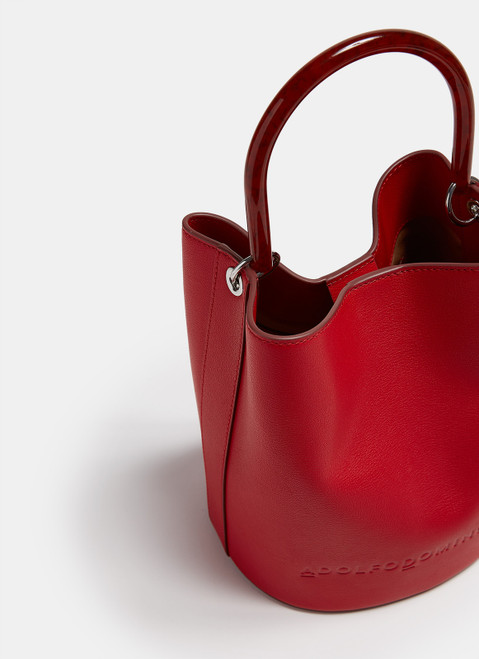 RED VACHETTA LEATHER BAG WITH RESIN HANDLE