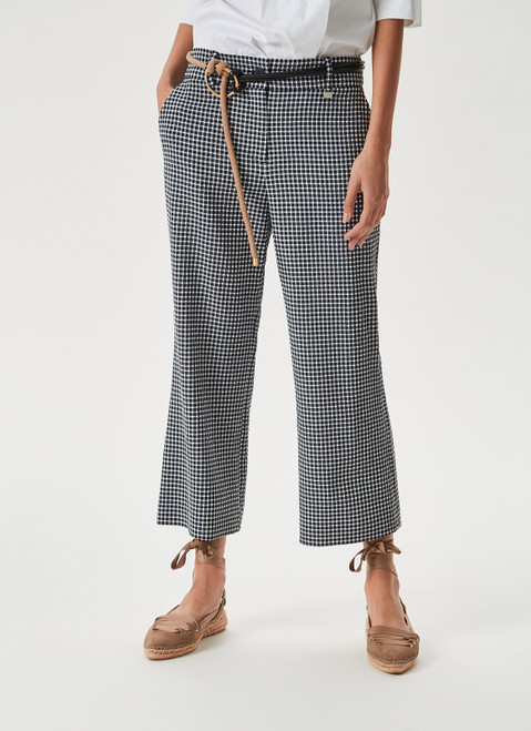 BLUE CHECK CROPPED TROUSERS WITH VICHY PRINT