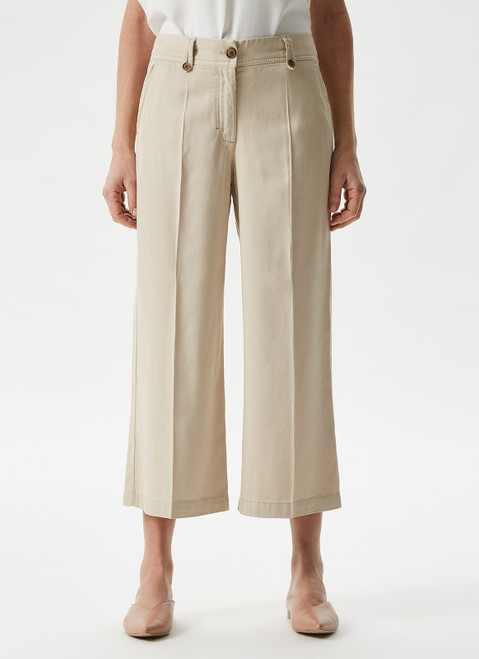 White Lyocell Cropped Trousers