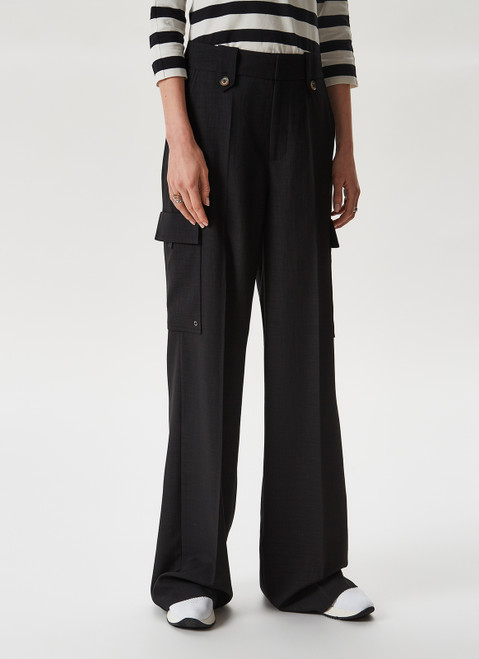 Black Straight Trousers With Flap Pockets
