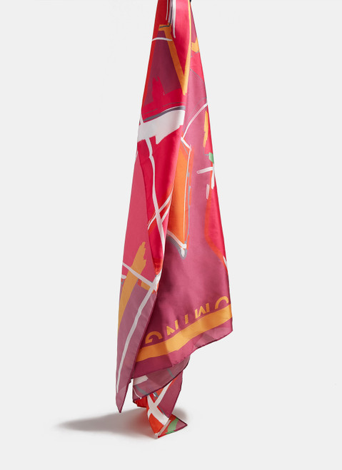 Pink Print Scarf With Abstract Print