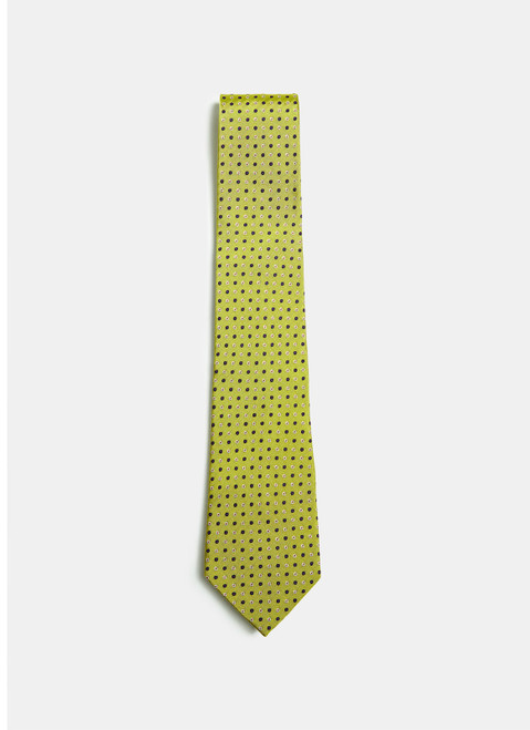 Yellow Lime Tie With Bicolour Dots