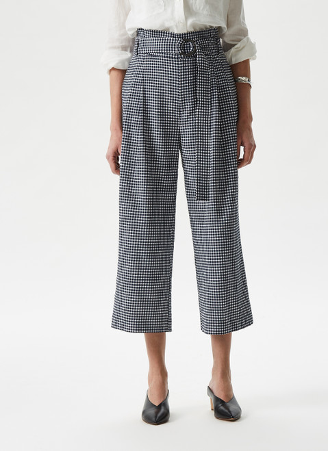 BLUE CHECK CULOTTE TROUSERS WITH FRONT DARTS