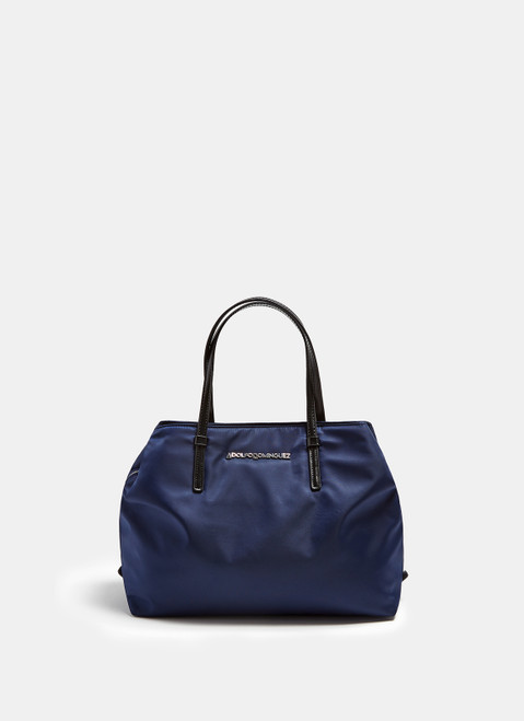 BLUE NYLON CITYBAG WITH LOGOED STRAP