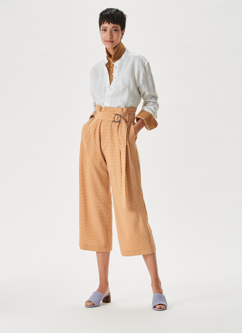 Yellow Checks Culotte Trousers With Front Darts