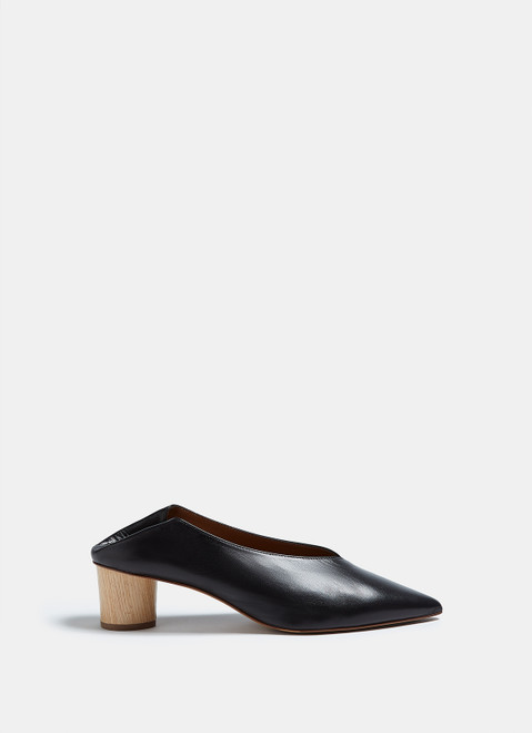 BLACK LEATHER SHOES WITH COLLAPSIBLE HEE