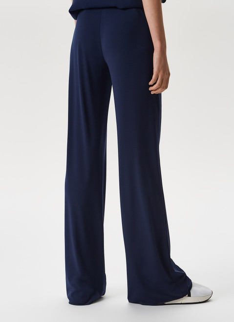 Navy Blue Fluid Trousers With Invisible Zipper