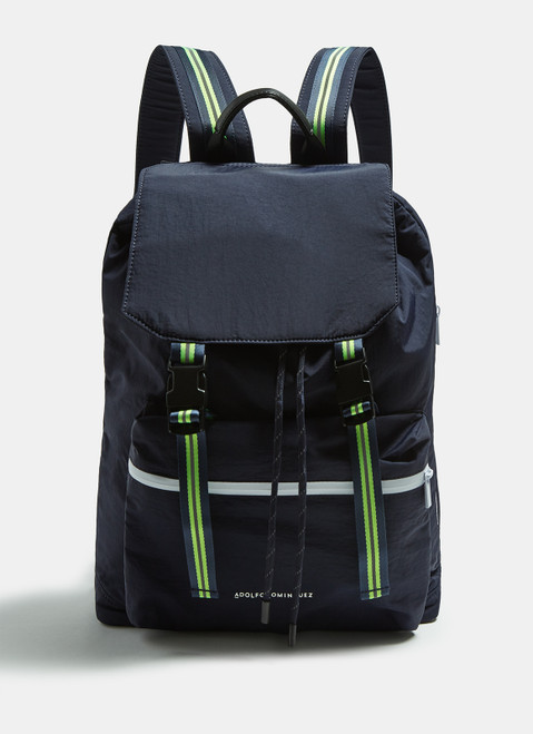 BLUE NYLON BACKPACK WITH FLUORESCENT DETAILS