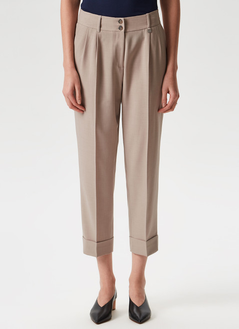Stone Ankle Trousers With Front Darts