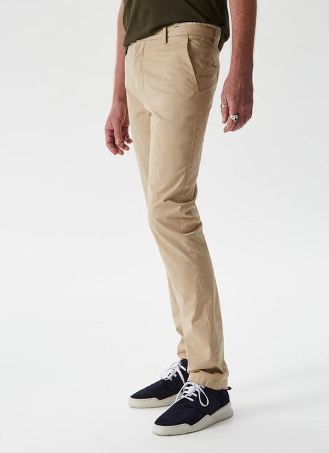 SAND CHINO STRETCH TROUSERS
