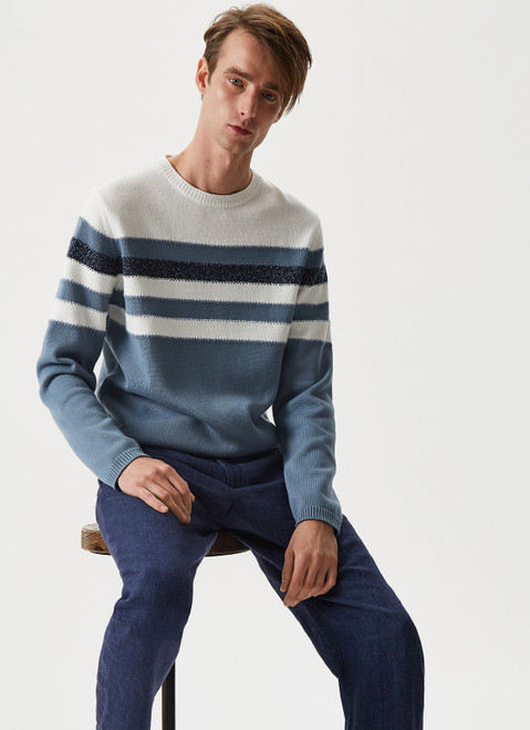 Blue/White Striped Jumper With Crew Neck
