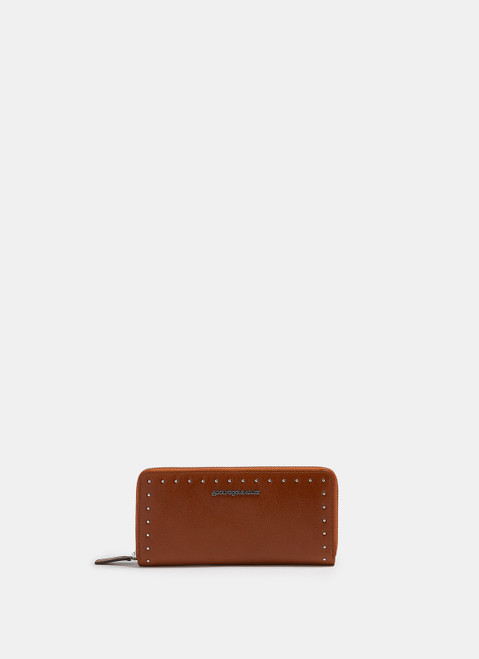 BUFF COLOUR CRACKLED LEATHER LARGE WALLET WITH STUDS