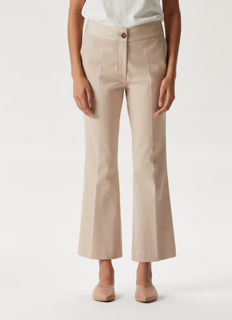 Stone Cropped Trousers With Button Slit Hem