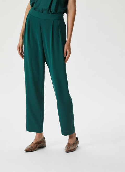 Bottle Green Baggy Trousers With Elastic Waist
