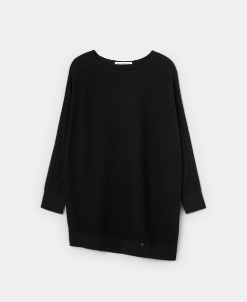 Black Ribbed Knit Sweater With Bat Sleeve