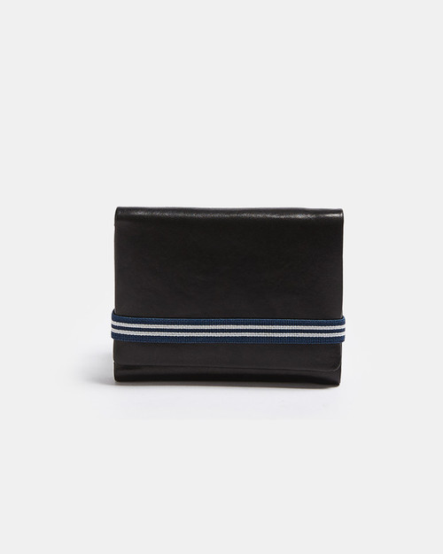 Black/Blue Leather Wallet With Elastic Closure