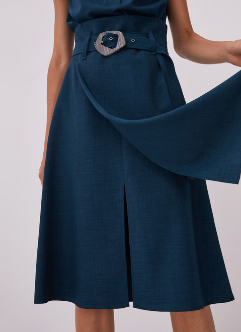 BLUE MIDI SKIRT WITH OVERLAYER AND BELT