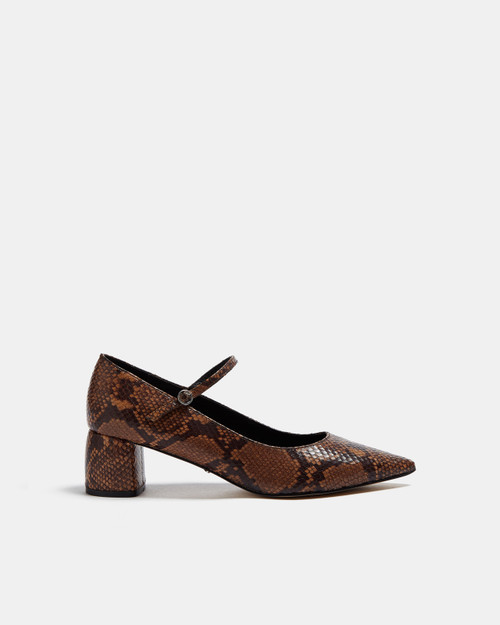 Brown Leather Shoes With Animal Print