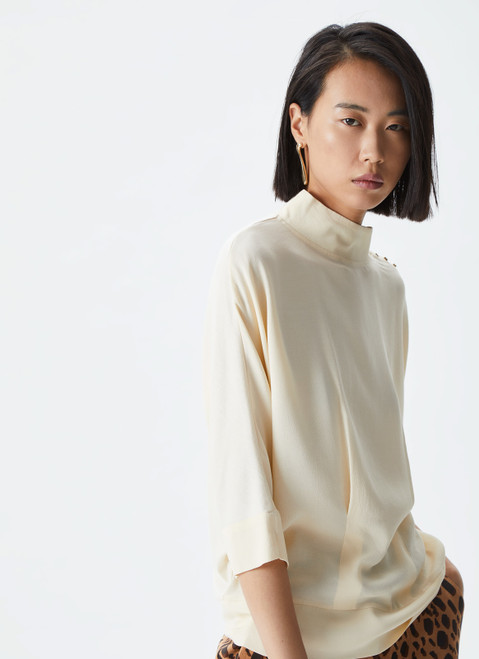 Ecru Shirt With Knit Back And Stand Collar