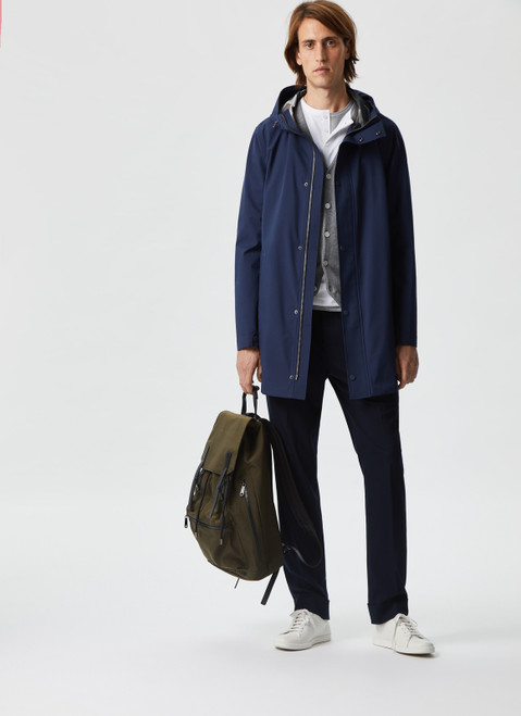 Blue Long Parka With Camo Lining