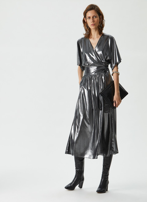 Silver Color Glossy Crossover Dress