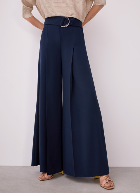 BLUE WIDE TROUSERS WITH DARTS AND BELT