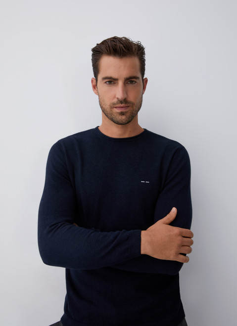 Blue Sweater With Roll Edge Crew Collar