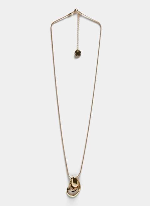 Gold Long Necklace With Oval-Shaped Pendant