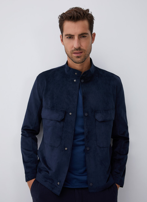 Blue Suedette Jacket With Chest Patch Pockets