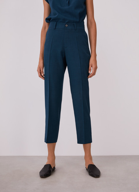 Blue Straight Trousers Without Darts