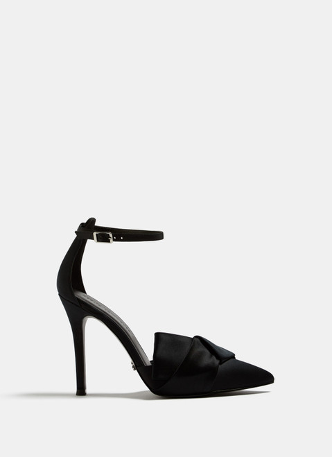 Black Cocktail Sandals With Silk Ribbon