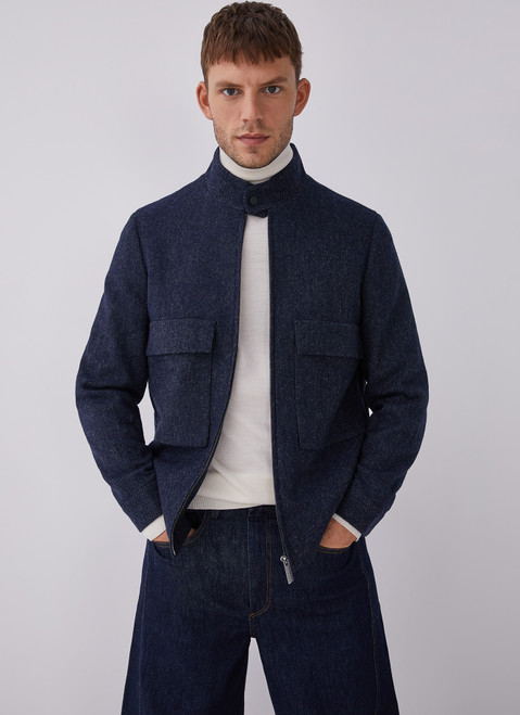 Blue Mottled Wool Jacket With Patch Pockets