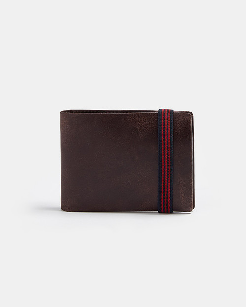 Maroon Aged Leather Wallet With Elastic Closure