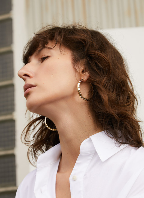 Gold Hoop Earrings With Texture