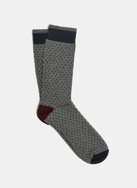 Grey/Blue Liner Sock With Micro-Motif