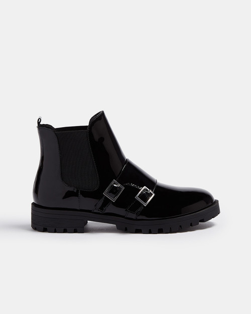 Black Patent Ankle Boots With Buckle