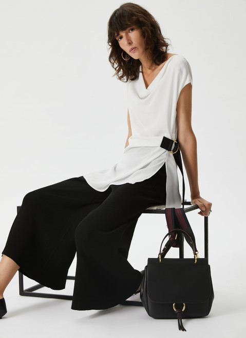 White Top With Drapes And Contrasting Bel