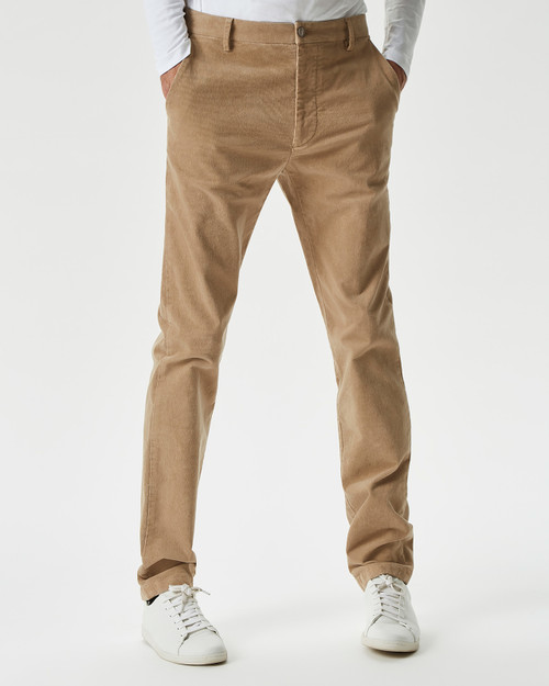 SAND MICRO-CORDUROY STRETCH TROUSERS