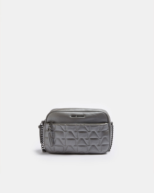 Silver Color Quilted Metallic Leather Crossbody Bag