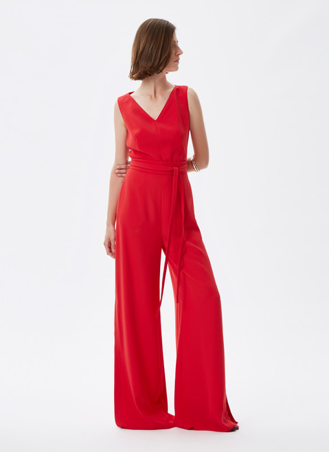 Red Palazzo Jumpsuit With Maxi-Slits
