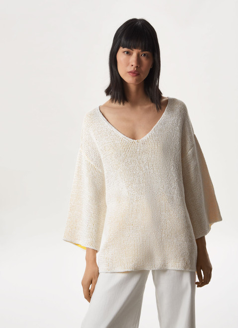 WHITE OVERSIZE TEXTURED KNIT SWEATER