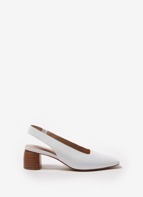 White Heeled Shoes With Squared Toes