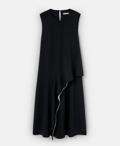 BLACK/WHITE MIDI DRESS WITH FRONT FLOUNCE