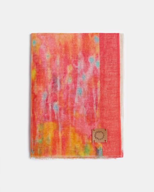 Multicolour  Pink Linen And Cotton Scarf With Print