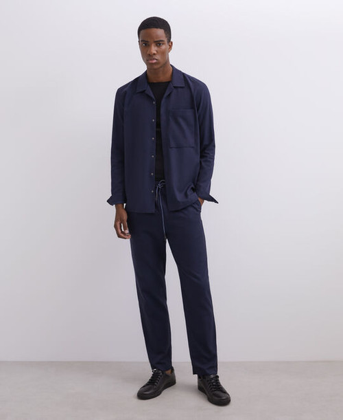Navy blue Lyocell And Cotton Twill Overshirt
