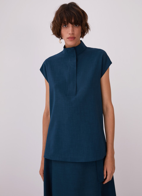 Blue High Collar Blouse With Flap
